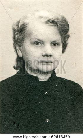 LODZ, POLAND, CIRCA 1960's: Vintage portrait of mature woman