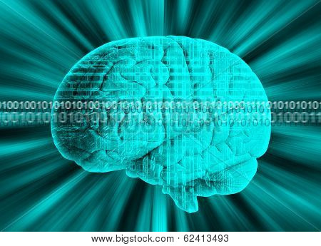 Human brain with binary code