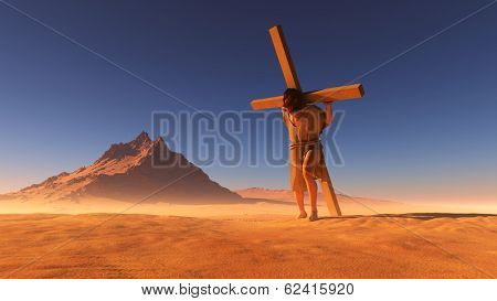 Jesus carries the cross in the desert.