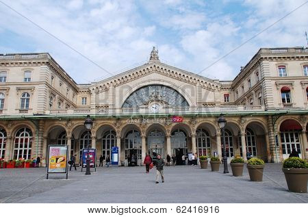 PARIS, FRANCE - MARCH 18, 2014: The exterior of the Gare De L'Est (East Station), one of the main railway stations in Paris. Designed by architect Francois Duquesnay, the station first opened in 1849.