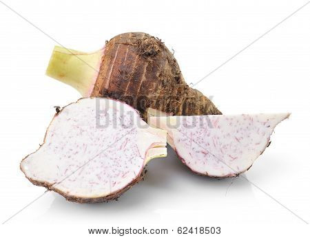 Taro Roots Isolated On White Background