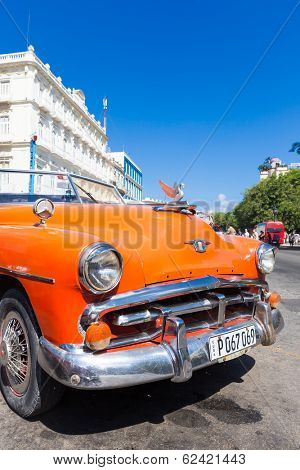 HAVANA, CUBA -?? FEBRUARY 25, 2014: Vintage classic american car in Old Havana. Thousands of these cars are still in use in Cuba and have become a worlwide known icon of the country