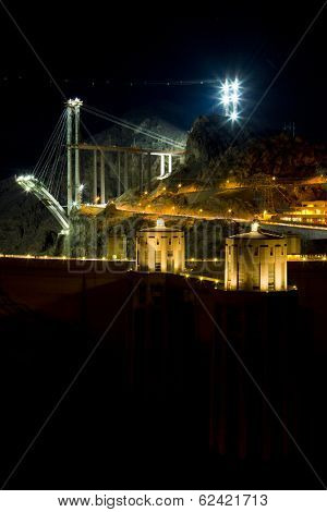 Hoover Dam at night, Arizona-Nevada, USA