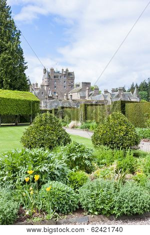 view of Glamis Castle from Italian Garden, Angus, Scotland
