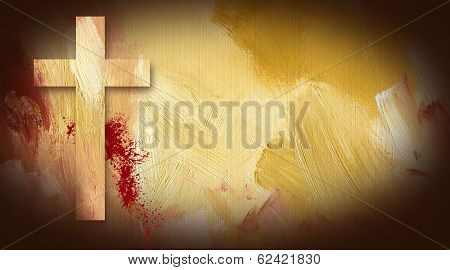 Calvary Cross Sacrificial Blood Graphic On Painted Texture Background