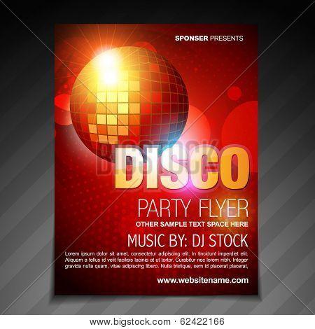vector disco party flyer brochure poster template design