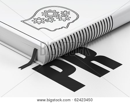 Marketing concept: book Head With Gears, PR on white background
