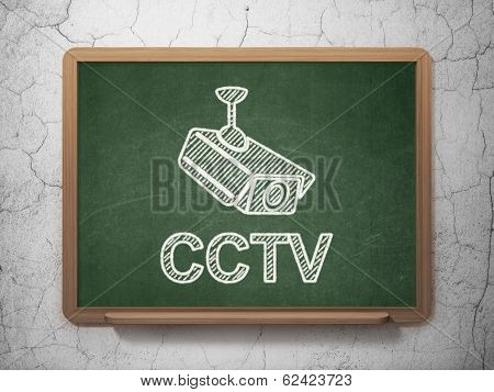 Safety concept: Cctv Camera and CCTV on chalkboard background