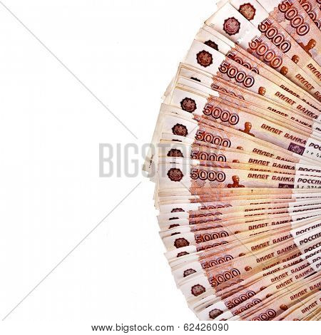 Border of Russian rubles banknotes surface top view  isolated on white background