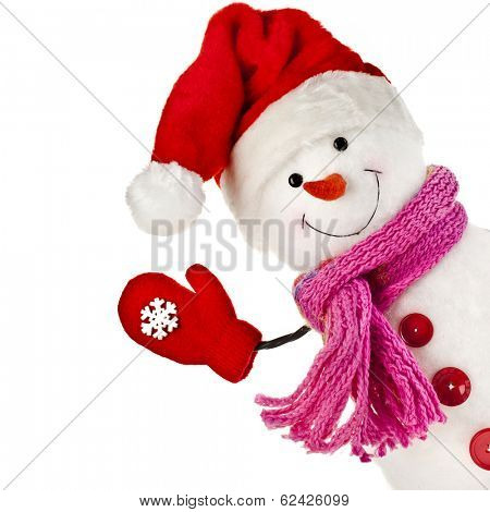 happy snowman in knitted hat and scarf and mittens isolated on white background