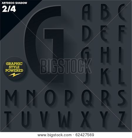 Modern flat alphabet for infographics with long ambient shadow. Vector set.  Black Upper case
