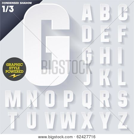 Modern flat alphabet for infographics with long ambient shadow. Condensed White Upper case