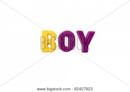 Letter magnets BOY isolated on white