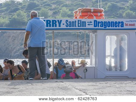 Dragonera Ferry With Tourists
