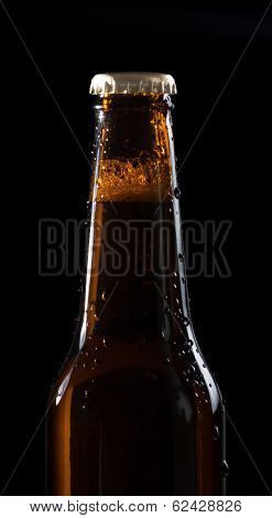One Bottle Of Fresh Beer With Drops,with Space For Text