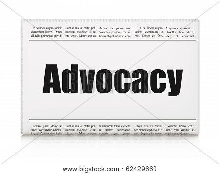 Law concept: newspaper headline Advocacy