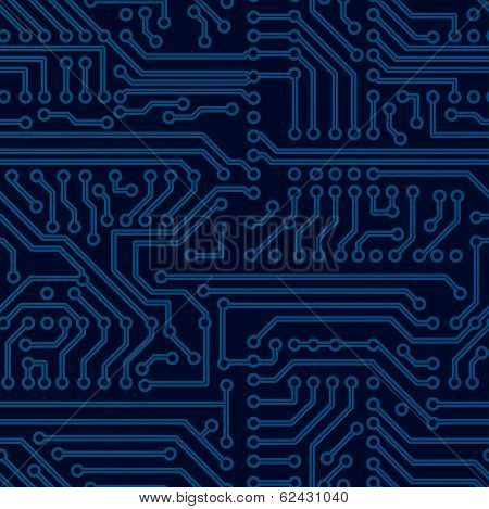 Vector blue circuit board seamless pattern