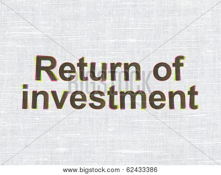 Business concept: Return of Investment on fabric texture background