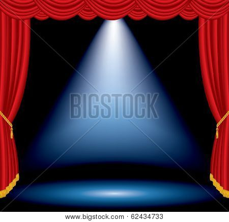 vector one big blue spotlight on stage with red curtain