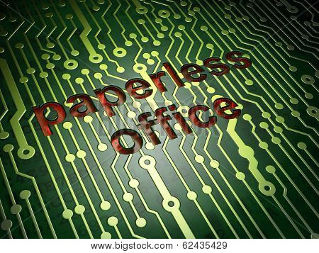 Business concept: Paperless Office on circuit board background