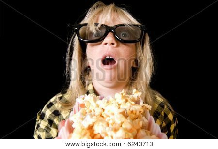 Young Girl At A Scary 3-d Movie