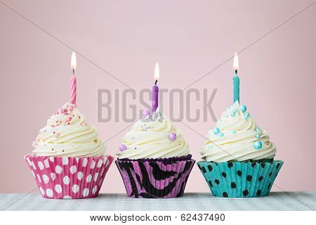 Three birthday cupcakes