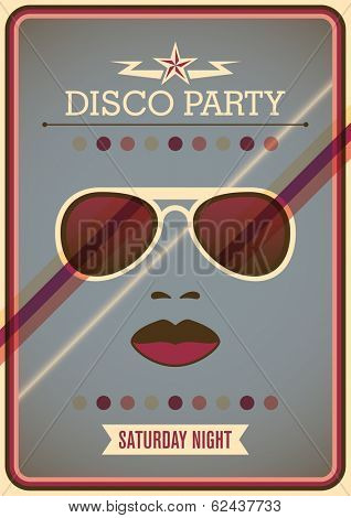 Disco party poster with sunglasses. Vector illustration.