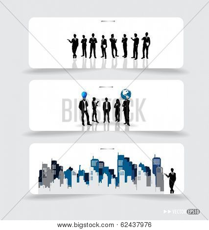 Business people silhouettes on note papers. Vector illustration.