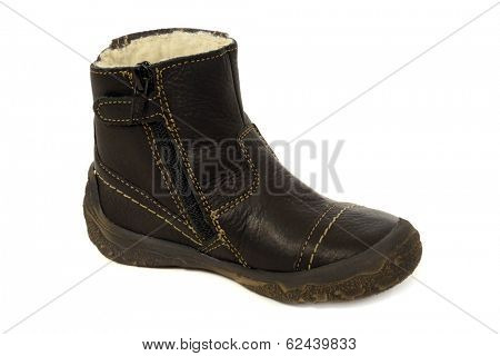 A black boot. Taken on a clean white background.