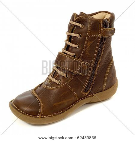 A brown boot. Taken on a clean white background.