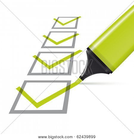 four checked check boxes and green highlighter vector illustration