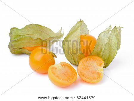 Fresh Physalis (cape Gooseberry) Isolated On White Background