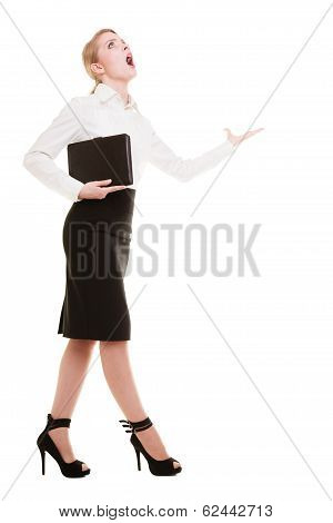 Full Length Mad Businesswoman Teacher Screaming Shouting