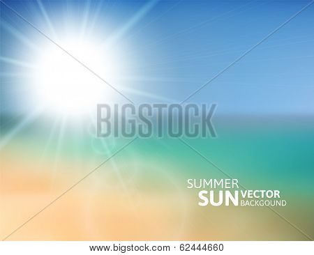 Blurry beach and blue sky with summer sun