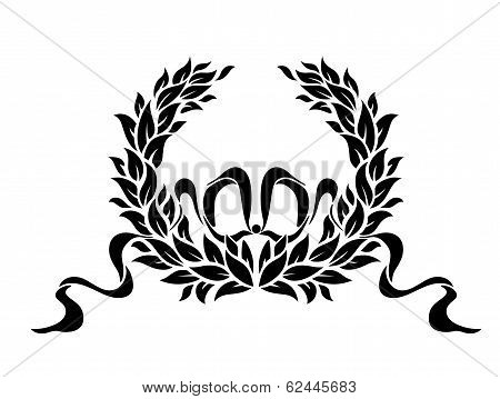 Foliate wreath with ribbons