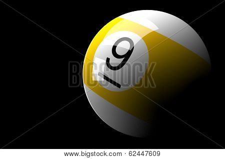 Billiard ball isolated on Dark background