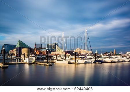 Long Exposure Of A Marina At The Inner Harbor, Baltimore, Maryland.