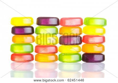 Composition of colorful boiled sweets. Isolated on white.