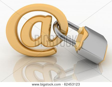 E-mail symbol with lock. Internet security concept.