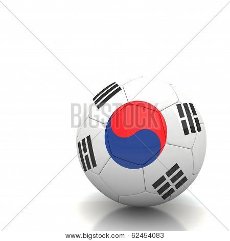 South Korea Soccer Ball Isolated White Background