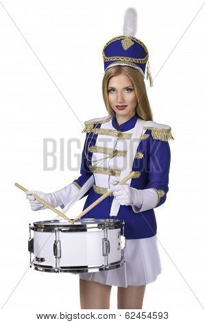 beautiful blond woman drummer isolated on white background