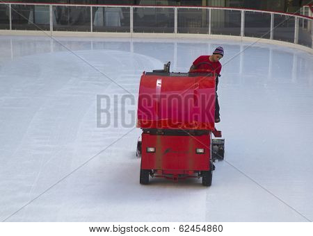 Ice resurfacing at the Ice  Rink at Rockefeller Center in midtown Manhattan