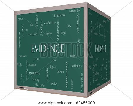 Evidence Word Cloud Concept On A 3D Cube Blackboard