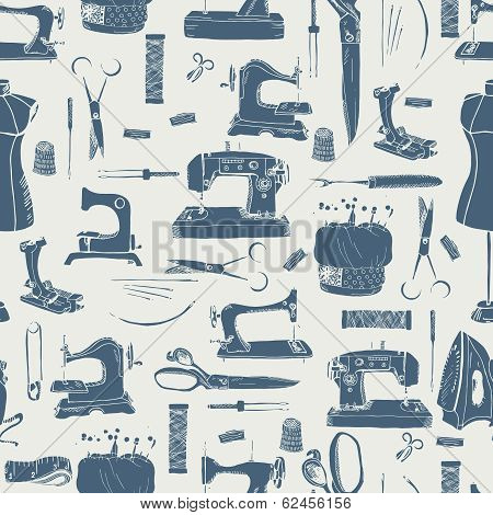 Sewing tools silhouettes, seamless pattern