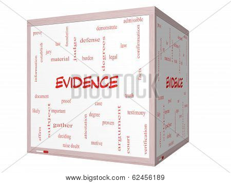 Evidence Word Cloud Concept On A 3D Cube Whiteboard