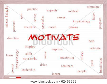 Motivate Word Cloud Concept On A Whiteboard
