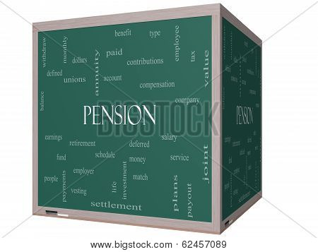 Pension Word Cloud Concept On A 3D Cube Blackboard