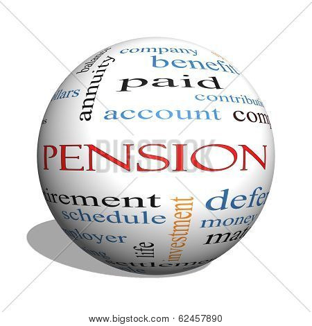 Pension 3D Sphere Word Cloud Concept