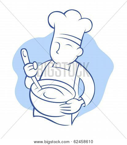 Chef Whisking Illustration