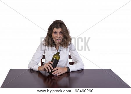 Drunk businesswoman at work